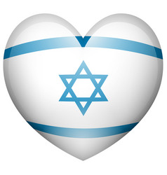 israel flag in heart shape vector image vector image