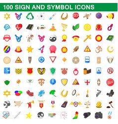 100 sign and symbol icons set cartoon style vector image