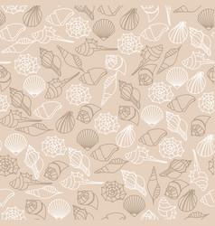 brown line seamless pattern of seashells vector image