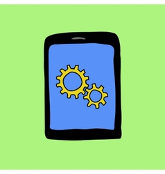 Doodle pad with gear wheels vector image