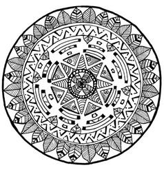 maya round mandala doodle for yoga and meditation vector image