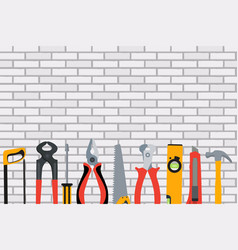 repair tools and instruments on brick wall vector image vector image