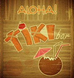 Retro Design Tiki Bar Menu on wooden background vector image vector image