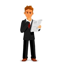 Thoughtful businessman is reading newspaper vector