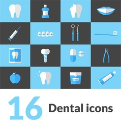 16 Flat Dental Icons vector image