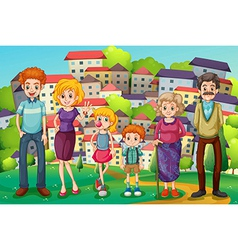 A hilltop with a big family vector image