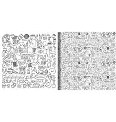Adult party hand drawn doodle set and seamless vector