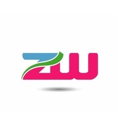 Alphabet Z and W letter logo vector image