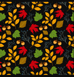 autumn seamless pattern with leaf leaf vector image