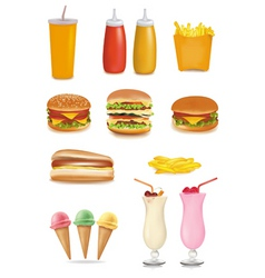 big group of fastfood product vector image