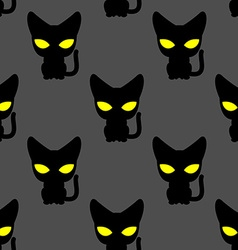Black cat with yellow eyes at night seamless vector image vector image