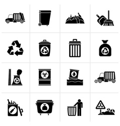Black Garbage cleaning and rubbish icons vector image