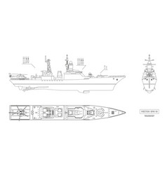blueprint of military ship top front and side vector image