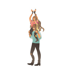 Boho style man stands holding woman on his vector