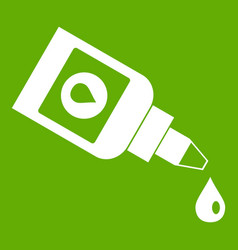 bottle for eye drops icon green vector image
