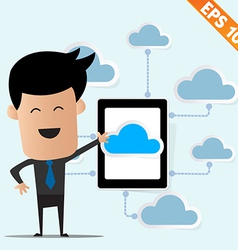Business man with tablet pc on cloud computing - vector