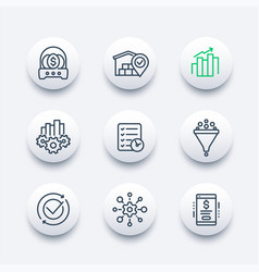 business management icons line set vector image