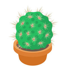 cactus in flower pot icon cartoon style vector image