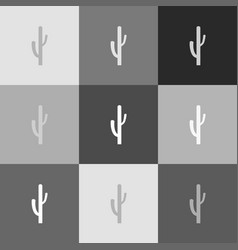 Cactus simple sign grayscale version of vector