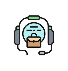 call center headset flat color icon vector image