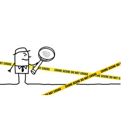 cartoon character and crime scene vector image