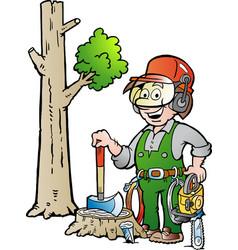 Cartoon of a happy working lumberjack or vector