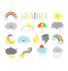 cartoon weathers items for kids vector image