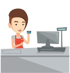 Cashier holding credit card at the checkout vector