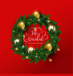 christmas and new year spanish red 3d wreath card vector image