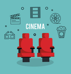 cinema entertainment flat icons vector image