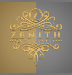Classic luxurious letter z logo with embossed vector