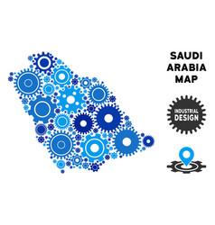 Composition saudi arabia map of gears vector