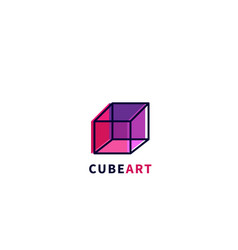 cube art logo abstract colored 3d cube vector image