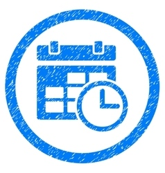 Date And Time Rounded Icon Rubber Stamp vector image