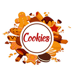 Delicious crispy cookies with chocolate and cream vector