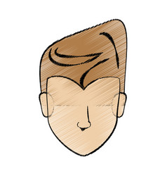 drawing man head hairstyle vector image vector image