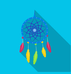 dream catcher with feathershippy single icon in vector image