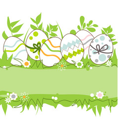 easter eggs in the grass frame space for text vector image