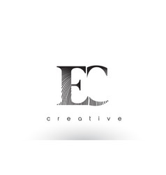 ec logo design with multiple lines and black and vector image