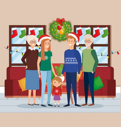 Family members with december clothes in livingroom vector
