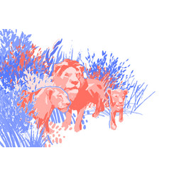Family three lions among grass and bushes vector