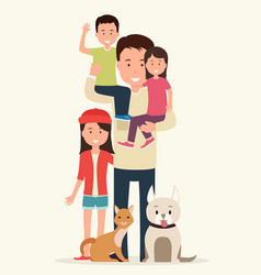 father with children and animals vector image