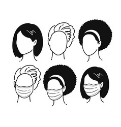 female portraits wearing medical masks vector image