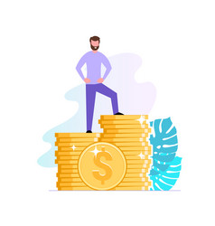 Financial consultant or investor stands on a stack vector