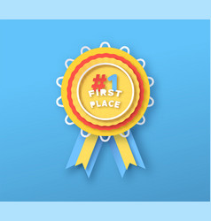 first place winner award color papercut 3d label vector image