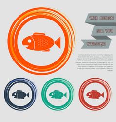 Fish icon on the red blue green orange buttons vector