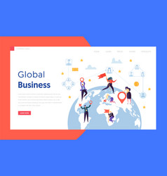 Flat worldwide businessman concept landing page vector