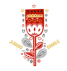 flower ornament in the scandinavian folk style vector image