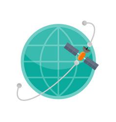 Globe with satellite vector