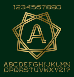 golden letters numbers initial monogram in star vector image